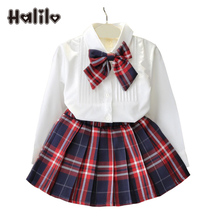 Halilo Kids Christmas Outfits Girls Clothing Sets White Blouse + Plaid Skirt 2pcs Autumn Toddler Kids Clothes Children's Sets