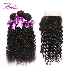 Alishes Malaysian Curly Hair Bundles With Closure 4*4 Lace Free Part Human Hair Weave 3 Bundles With Closure Non Remy Hair(China)