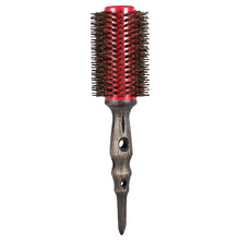 Roll Round Hair Brush Natural Bristle Roller Comb Non-slip Wood Handle Hair Care Tools Aluminum Comb Hairdressing Barber Too(China)