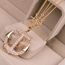 New Fashion 2 Colors White Navy Crystal Rhinestone Anchor Rudder Pendant Long Chain Sweater Necklace Personality For Women