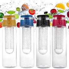 800 ML Portable fruit Infusing Infuser Water bottle Sports Lemon Juice Bottle Flip Lid for kitchen table Camping travel outdoor(China)