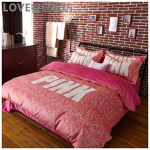 Winter Brand VS Secret Pink Soft Animal Print Fashion Velvet Victoria Bedding Set Bed Sheets 4PCS Duvet Cover Set Bedspread(China)