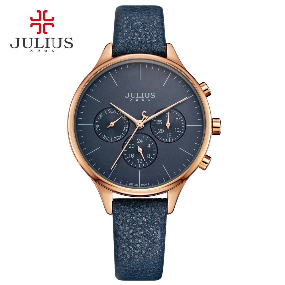JULIUS Women Luxury Watch Chronograph Week Date Stopwatch Silver Rose Gold Genuine Leather Business Watch OL Gift Whatch JA-952<br>