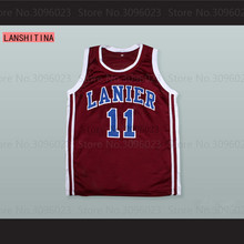 LANSHITINA Monta Ellis 11 Lanier High School Bulldogs Maroon Basketball Jersey Red Black Shirt(China)