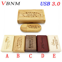 VBNM USB 3.0 LOGO customized wooden usb + Box Personal LOGO pen drive 8GB 16GB 32GB usb Flash Drive pendrive U disk Memory stick(China)