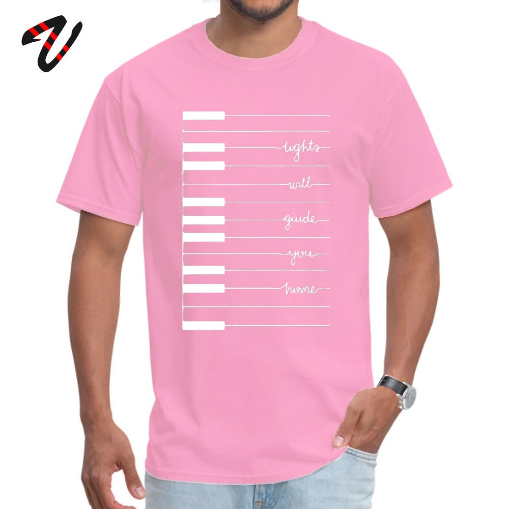 Man Cute Funny T Shirt Round Neck VALENTINE DAY 100% Cotton T Shirts Unique Short Sleeve Fitness Tight Tops Tees lights will guide you home 12521 pink