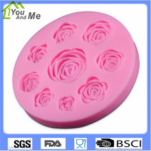 DIY Fondant Silicone Nine Rosees Mold 3D Cake Decorating Tools Color Pink Flower Chocolate Silicon Molds