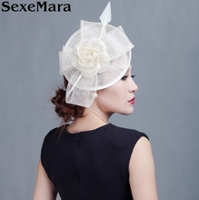 Bridal Sinamay Fascinator Philippines Sinamay Hat with Feathers for Kentucky Derby Church Wedding Cocktail Party(China)