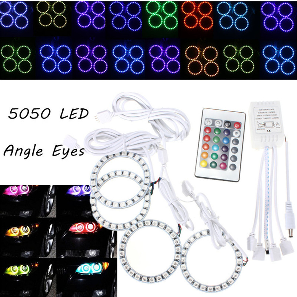 4 in 1 Angel Eyes Halo Ring Non-Waterproof Car Headlight 96 LED Decorative Light Lamp<br><br>Aliexpress