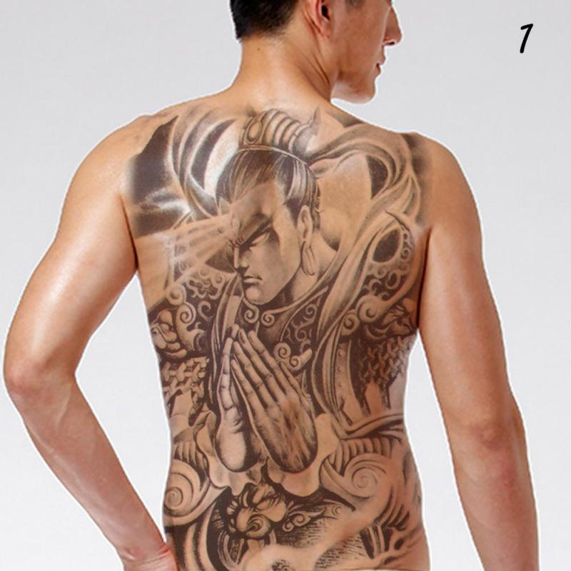 48*35cm Big size buddha ghost totem tattoo stickers men women waterproof full back body temporary tattoos RP2 2