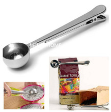 1 pc Multifunction Stainless Steel Coffee Scoop With Clip Coffee Tea Measuring Scoop 1Cup Ground Coffee Measuring Scoop Spoon(China)