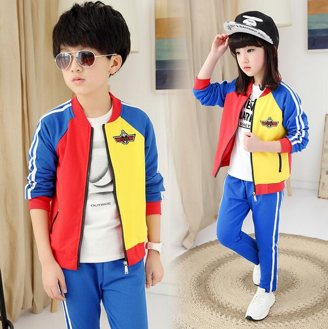Fashion Spell Color Kids Tracksuit Autumn Zipper Ourterwear Suit  Two-piece Ropa De Nina Childrens Clothing Sets Boys Outfits <br>