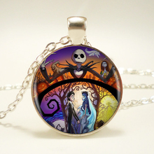 1pcs/lot Nightmare Before Christmas Silver Pendant Necklace Long Chian Statement Handmade Necklace For Women