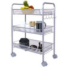 Lifewit Supreme Metal Rolling Cart Space Saving Trolley 3-Tier Rolling Movable Storage Rack for Bathroom Kitchen Living Room(China)