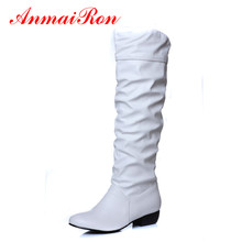 ANMAIRON Fashion Winter Autumn Pleated Mid-Calf Women Boots Low Heels Black White Brown Flats Half Boots Women Snow Shoes Woman