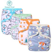 Happy Flute all in one fast dry night baby cloth diaper waterproof adjustable one size fit all