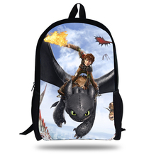 16inch How to Train Your Dragon Backpack Kids School Bags For Boys Children Backpacks Cartoon Hiccup Toothless Printing(China)