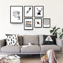 Flesh Black and White Birds Deer Nordic Mural Paper No Frame Decorative Art Drawing Canvas Wall Poster Ornaments for Office Cafe