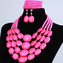 Jewlery sets african beads jewelry set aqua multi layer necklace bracelet earring sets(China)