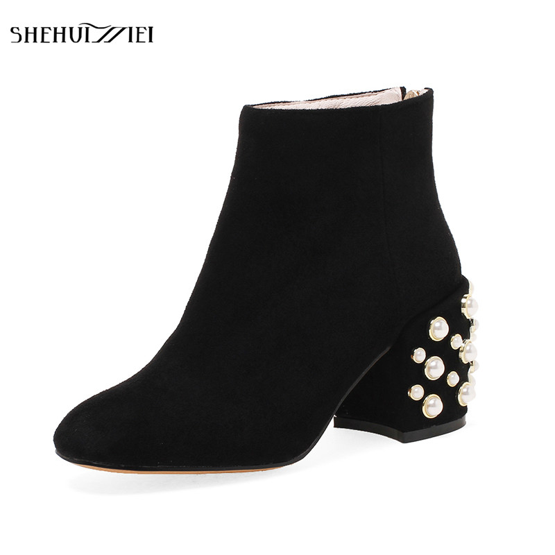SHEHUIMEI Women Kid Suede Boots Sexy Fashion Short Work Boots Womens Fashion Winter Ankle Zipper Pearl Boots Shoes Woman 34-43<br>