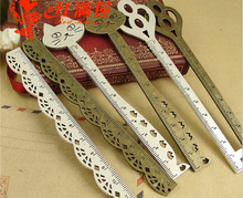 Metal hair stick stationery straight ruler lovely zinc alloy key cat lace bookmark design ancient silver jewelry accessories
