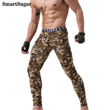 SmartSugar Fashion Army Green Camouflage High Elastic Modal Breathable Warm Comfortable Men Thermal Underwear Print Long Johns(China)