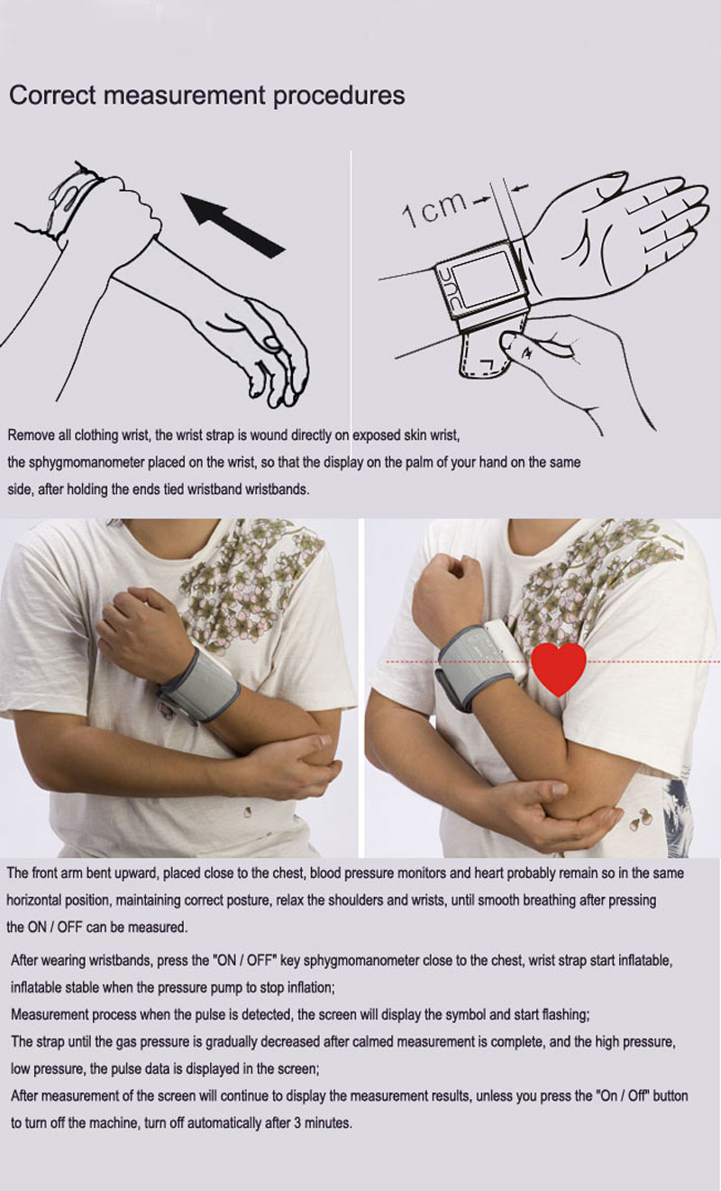 Wrist Blood Pressure Monitor Automatic Digital Meter Cuff Blood Pressure Measurement Health Household Tonometer Sphygmomanometer 13