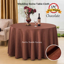 Factory Retail 1PC Polyester Jacquard Damask Chocolate Table Cloths for Wedding Party Hotel Restaurant Decor Event Table Overlay