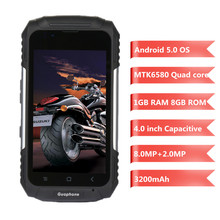 Guophone V88 4.0'' Android 5.1 3G Smartphone IP58 Waterproof Dust Shock Resistant Mobilephone MTK6580 Quad Core 1GB RAM 8GB ROM(China)