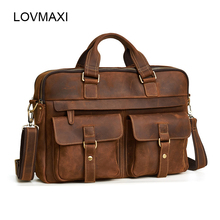 100% Cow Leather Men's Briefcases Crazy Horse Leather Large Shoulder Bag Male Business Messenger Bag Man's Laptop handbags(China)