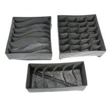 3 pcs storage box storage box basket sock organization underwear tie bamboo charcoal foldable(China)
