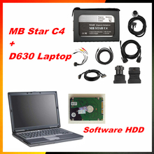 New OBD2 scanner MB STAR C4 for Mercedes Benz cars and trucks + D630 Laptop + Xentry v2015.07 software hdd 12/24v MB STAR C3