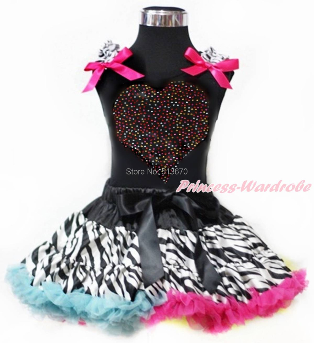 Valentine Rhinestone Rainbow Heart Black Tank Top Rainbow Zebra Pettiskirt Skirt Set 1-8Y MAPSA0201<br>