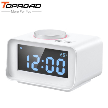 TOPROAD Desktop Speaker LCD Digital FM Radio Alarm Clock MP3 Music Player Speakers Hoparlor with Dual USB Dock Charger Station(China)