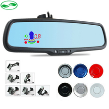 Buy Blue Mirror Car LED Rear View Mirror Monitor Auto Reverse Radar Parking Sensor Special Bracket + 4 Snesors 6 Color Optional for $69.99 in AliExpress store