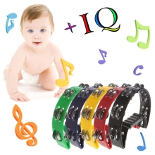 Single Row Jingles Half Moon Musical Tambourine Percussion Drum Party Gift Toy W15(China)