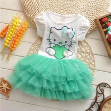 Fashion children girls summer clothes 2 to 5 years casual kids dresses girls green cotton hello kitty dress summer 2017