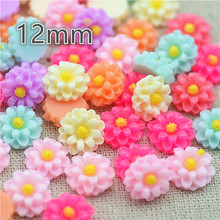 resin flower 12mm 100pcs/lot mix color flat back cabochon holiday decoration free shipping