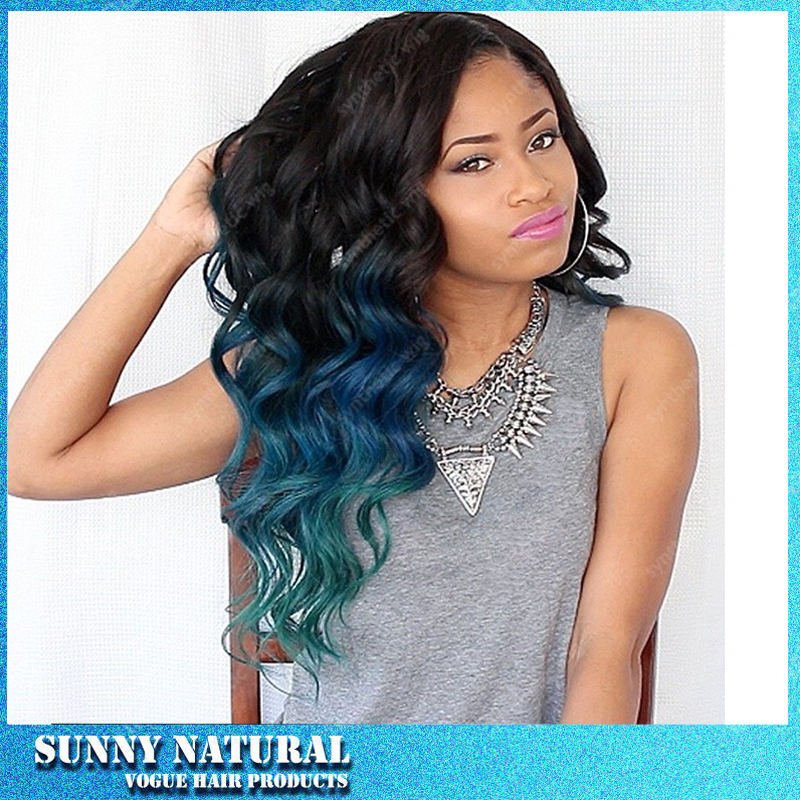 Synthetic ombre lace wig body wave dark root to blue,green 3 tone Ombre Lace Wig with baby hair<br><br>Aliexpress