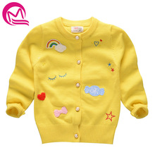 3-7 Years Girls Cotton Cardigan Girls' Sweaters 2017 Spring New Style Children Clothes Baby Winter Sweater Jacket Kids Costumes(China)