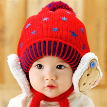 lovely cap Child Winter Thicken Keep Warm Bear protects ear Hats Star pattern bonnet Baby Cartoon Kids Crochet Knitted Caps(China)