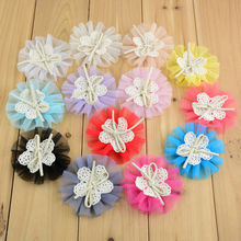 New Arrival 20pcs girls Tulle Mesh Chiffon Flowers Lace Fabric Flower Hair Bow Center Flat Back for Headband 13Colors FH14(China)