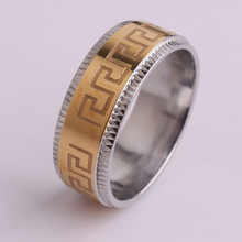 8mm silver or  gold Gear  carve Great Wall pattern 316L Stainless Steel finger rings for men wholesale jewelry