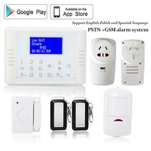 English/Polish/Spanish 433mhz Wireless quad band SIM card GSM+PSTN telephone Alarm System kit with home appliance control socket(China)