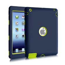 For iPad 2 iPad 3 iPad 4 Case Kids Safe Shockproof Heavy Duty Rubber Hybrid Armor Hard Case Cover w/Screen Protector Film
