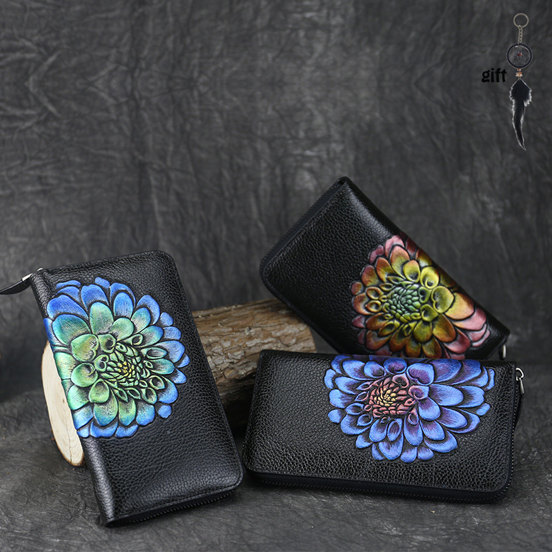 The first layer of leather hand-painted original zipper new female package retro leather wallet female wallet long section<br>