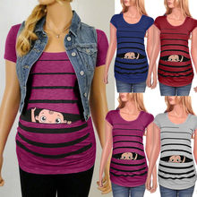 Maternity Dress Premium Soft Stretch Maternity Cute Funny Baby Print Striped Short Sleeve T-shirt Pregnant Tops MAR11(China)
