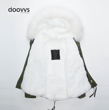 2015 Fashion Style Short Design Fur Army Green Coats with White Linned  Hooded Men Jacket Fur Collar
