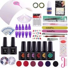 24W/36W Led Lamp Nail Polish Kit No Sticky Layer Soak Off Nail Gel Kit Top Base Gel 3D Nail Tip Build Set Manicure Extension Kit(China)