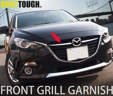 2pcs Fit For Mazda 3 AXELA M3 2014 2015 2016 Front Grille Grill Chrome Cover Hood Center Mesh Net Trim Garnish Molding Styling